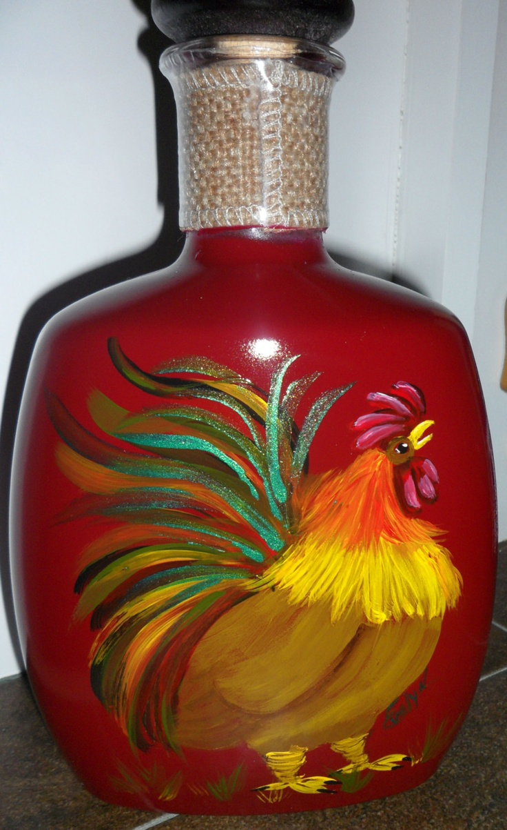Upcycled Bourbon Bottle with Hand Painted Rooster and Hen Wine Red Recycled. $25.00, via Etsy.