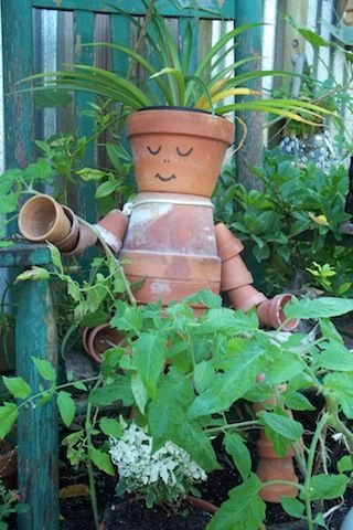Garden accent ~ Clay Pot Sculpture