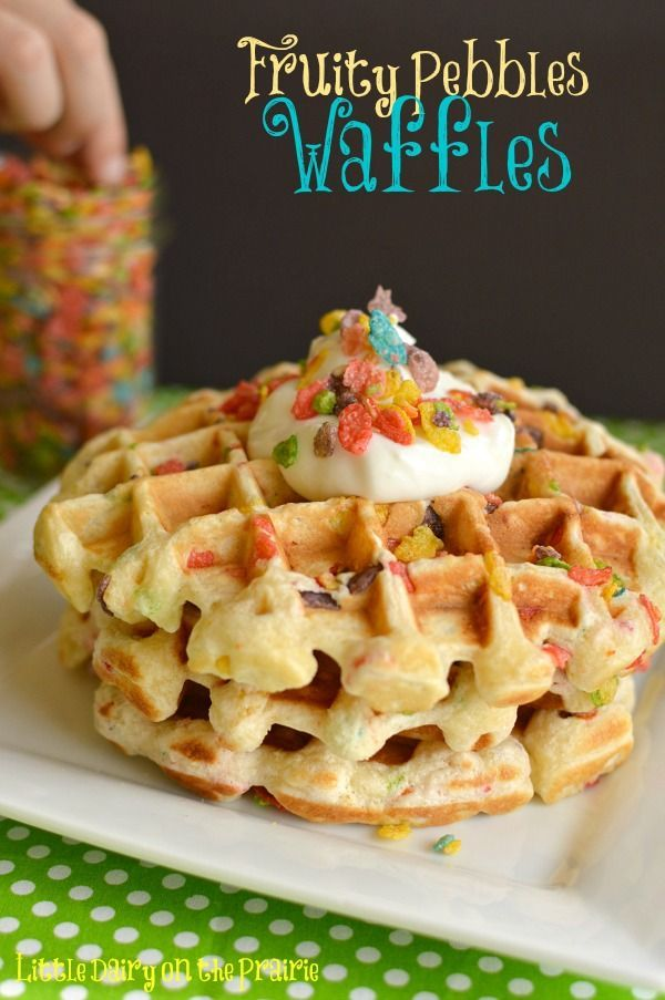 Fruity Pebble Waffles with Greek Yogurt!! - Little Dairy on the Prairie