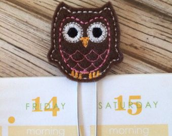 Owl Orange Bookmark Felt Planner Clips by createdbydanielle1