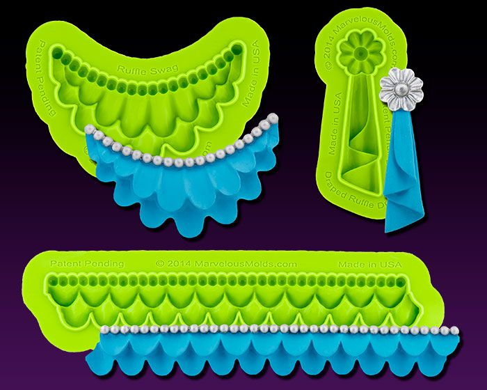 Ruffle Mold Collection includes 3 beautiful ruffle molds – border, swag and drop to create a coordinating ruffled cake design.