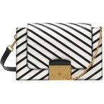 Preowned Mulberry Pembroke Stripe Shoulder Bag - Black & White Leather