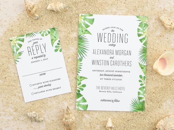 Beach Wedding Invitations, Tropical Destination Wedding Invite, Watercolor Palm Invitation, Watercolor Invitations SAMPLE | Palm