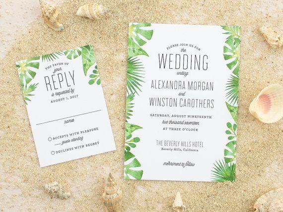 Beach Wedding Invitations, Tropical Destination Wedding Invite, Watercolor Palm Invitation, Watercolor Invitations SAMPLE | Palm
