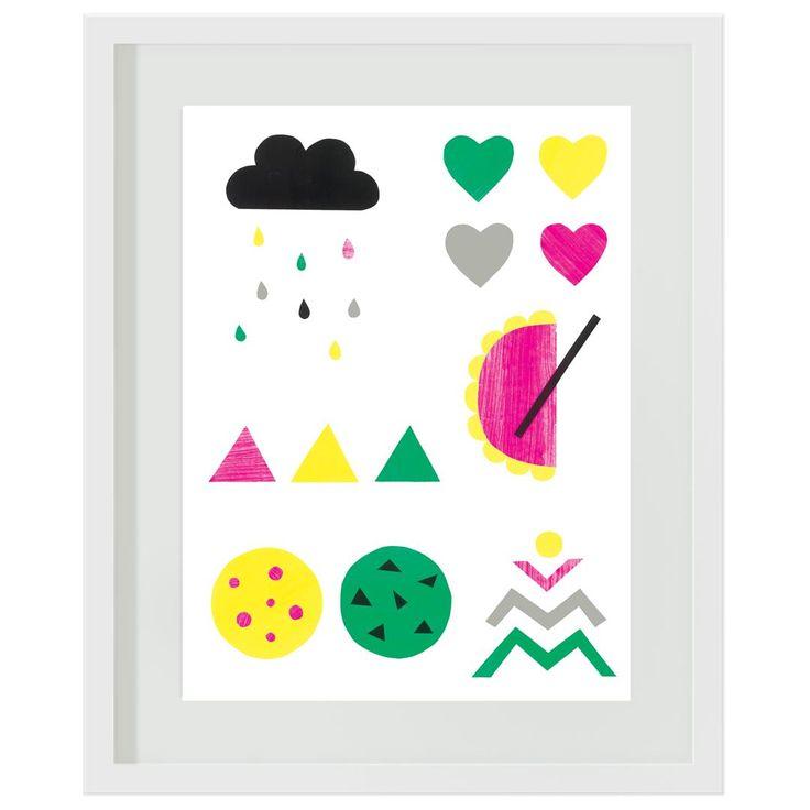 Girls Collage: #pink #green #yellow #rainbow #raincloud #aztec #bedroom #girls #decor #wallart #artprints