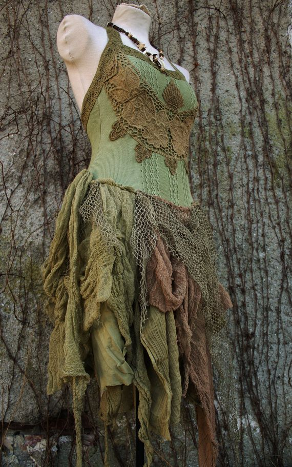 Victorian Forest - corset tutu dress in olive green knitted cotton , gauze and fishnet  boho gypsy pixie elf style