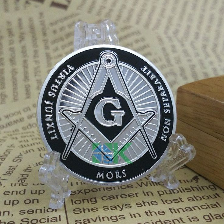 Sliver Plated Masonic Coin With The Freemason Symbol Of The Square & Compasses