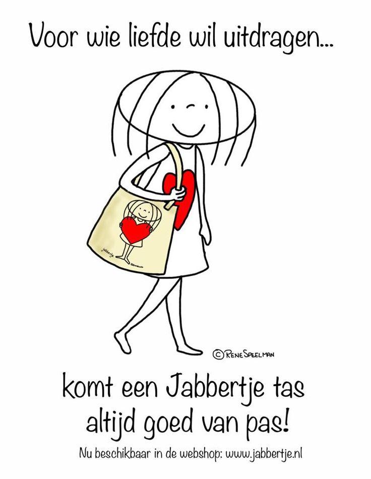 Voor wie liefde wil uitdragen, komt een Jabbertje tas altijd goed van pas! - Jabbertje