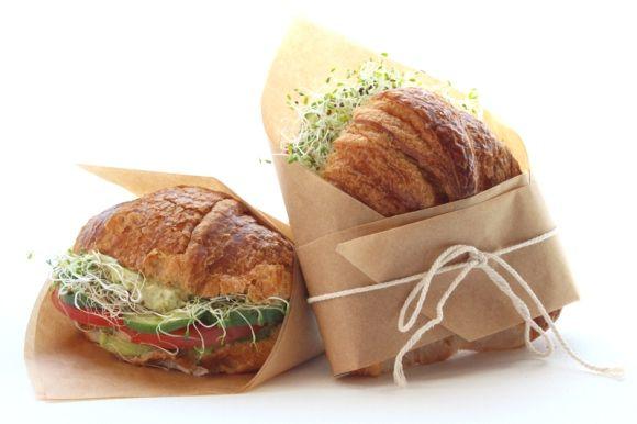 Picnic Crossaint: Fresh Croissants, Cucumber, Tomato, Avocado, Alfalfa Sprouts, Basil Pesto, Mascarpone Cheese. Sounds delicious! #recipe #picnic #sandwich