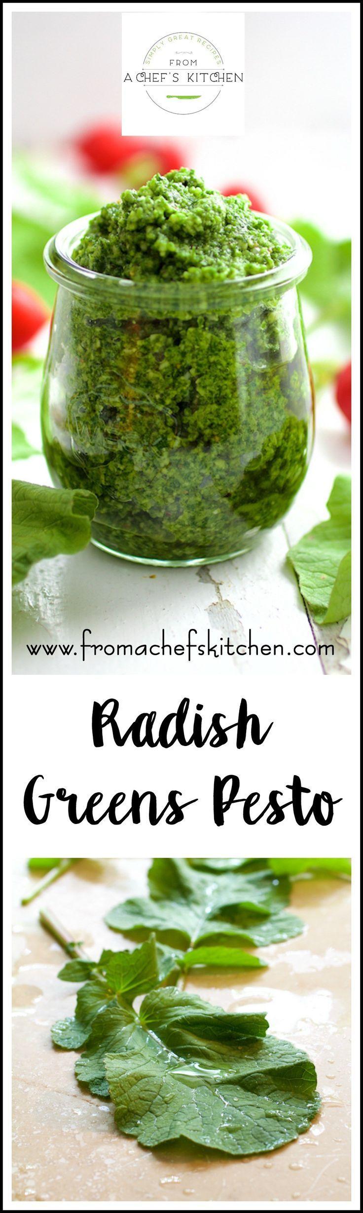 Don't toss those radish greens! Pungent, peppery radish leaves make perfect pesto!