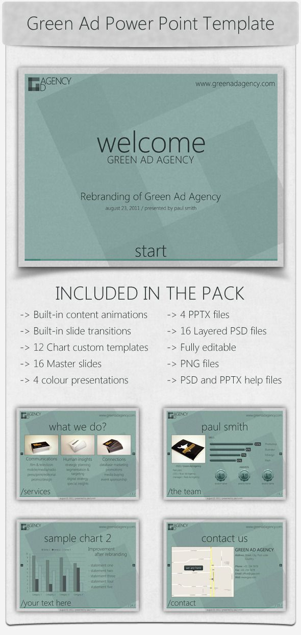 green ad agency power point template | power point templates, Powerpoint templates
