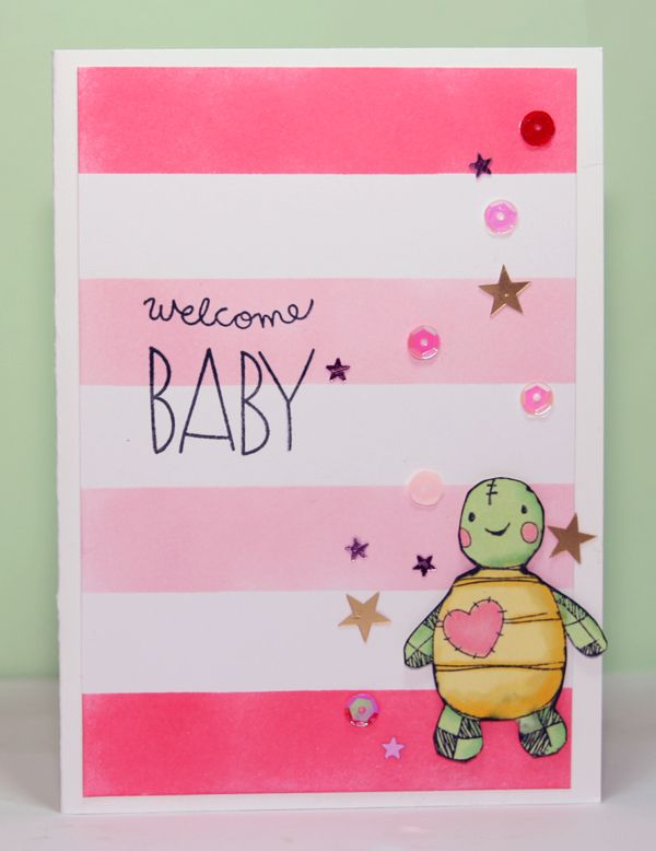 Stripes made with Distress inks, turtle colored with Spectrum Noir alcohol markers and is from the Inkadinkado set called welcome baby, sentiment is from Simon Says Stamp baby party animal set