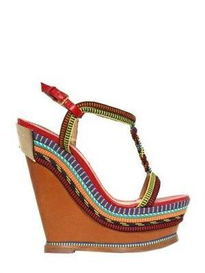 www.cewax.fr aime ces sandales plateformes en perles et cuir style ethnique tendance tribaleEthnical wedge