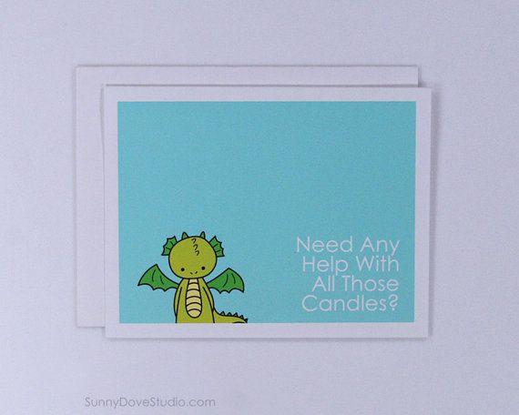 Funny Dragon Birthday Card by SunnyDoveStudio #etsy #cards #greetingcards #funny #cute #dragon #birthday #kawaii
