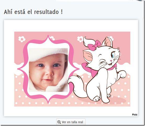 Generador conla foto etu hijo, haz un fotomontaje gratis para cumpleaños de Gatita Marie