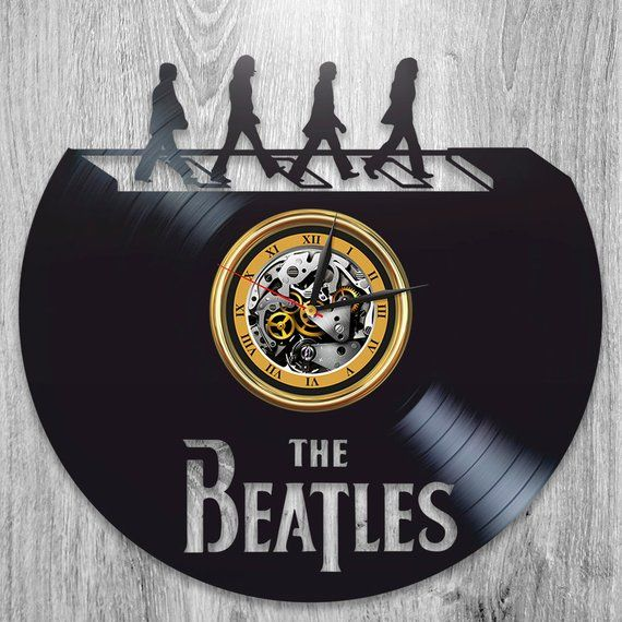 Xmas Gift For Men Beatles Lp Retro Vinyl Record Wall Clock Vintage Fab Four Wall Art Wall Clock Modern Vintage Wall Clock Wall Clock Modern Vinyl Record Clock