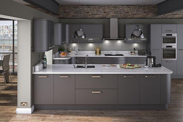 A modern looking Innova Carrera Painted Graphite kitchen. http://www.diy-kitchens.com/kitchens/carrera-painted-graphite/details/