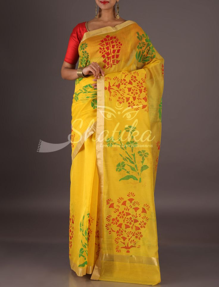 Meera Vibrant Yellow Lace Border Colorful Bouquets Chanderi Block Printed Saree