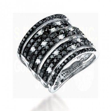 2.50CT Black & White Diamond Ring on 14K White Gold.