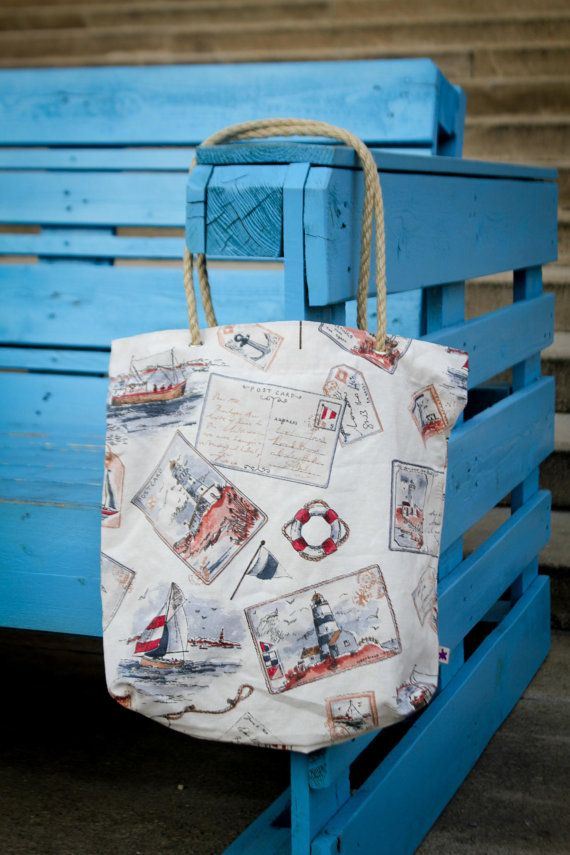 Summer sailor tote bag free shipping to EU by PurpleTurtleBag