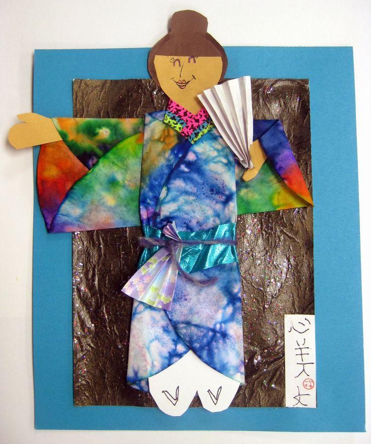 art lessons on Japan- kimono's 2nd or 3rd grade- self-portraits
