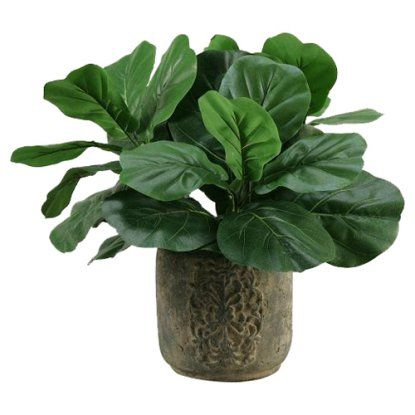 D&W Silks Fiddle Leaf Fig Silk Plant with Stone Planter