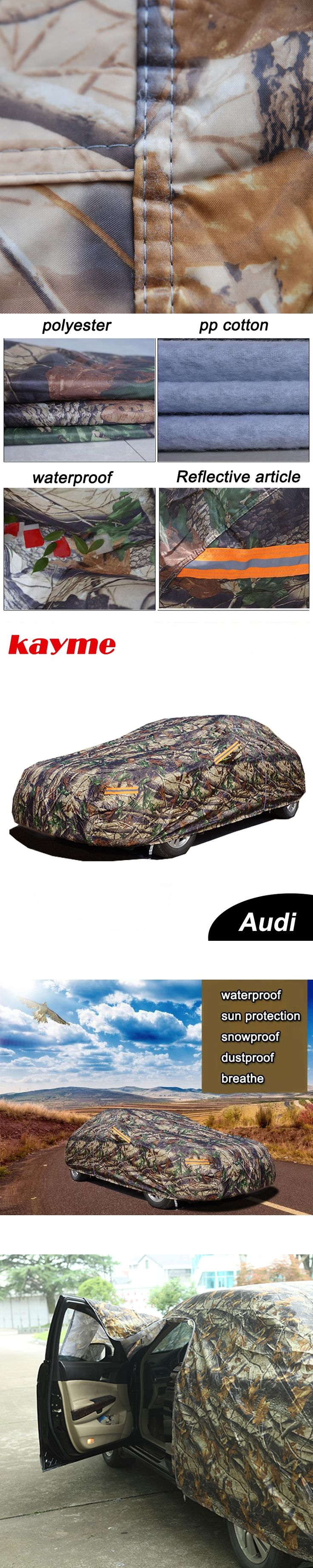 Kayme Camouflage waterproof car covers outdoor cotton sun protection for audi a4 b6 b7 b8 a3 a6 c5 c6 q5 q7
