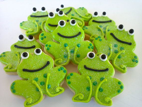 Frog Mini Sugar Cookies 2 Dozen by acookiejar on Etsy, $27.95