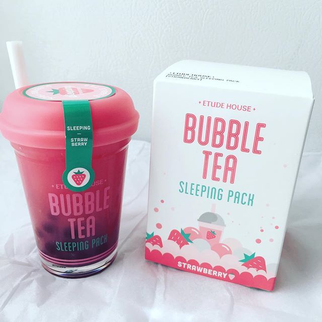 I'm such a sucker for pretty packaging!  #EtudeHouse bubble tea sleeping pack in strawberry will look very cute next to my other not so cute packs