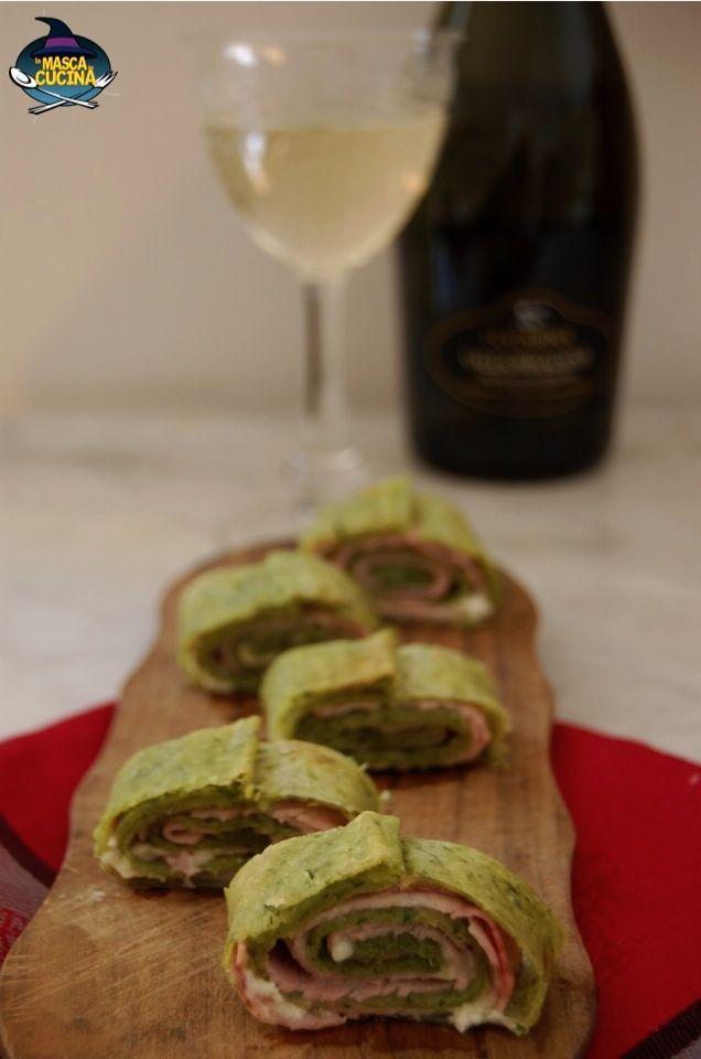 Rotolo di pasta matta alla clorofilla di Rucola Insal'Arte con lonzino e parmigiano.