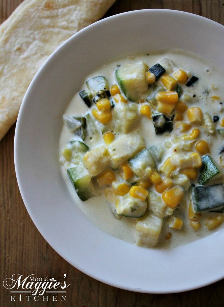 Easy Creamy Zucchini Corn and Poblano Chile (or Calabacitas con Elote y Rajas de Chile Poblano) is a yummy and delicious dish that comes together in minutes. It only takes a few ingredients, and food is ready! By Mama Maggie's Kitchen