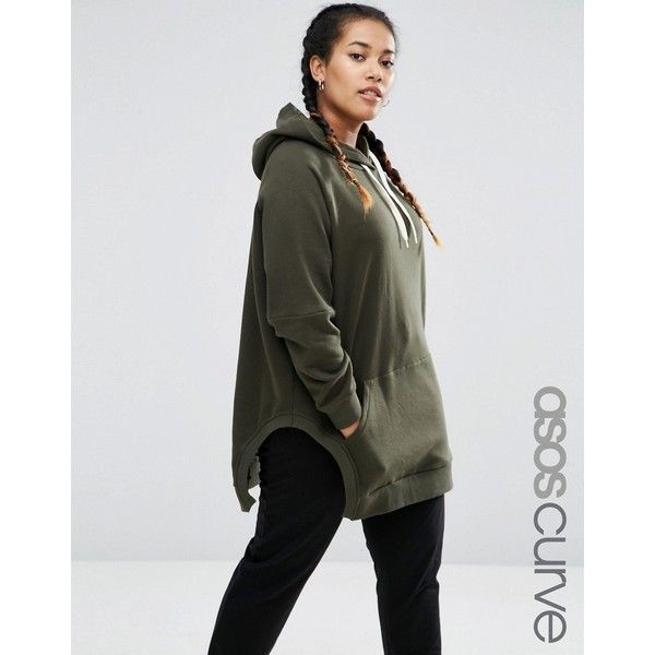 ASOS CURVE Hoodie in Oversized Fit with Side Splits (385 NOK) ❤ liked on Polyvore featuring tops, hoodies, green, plus size, womens plus size hoodies, cotton hoodie, plus size cotton tops, cotton hoodies and plus size tops