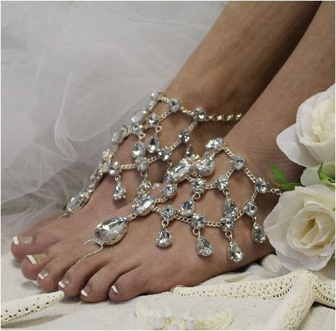 CRYSTAL DREAMS barefoot sandals, crystal drop jewels wedding barefoot sandals, silver | SJ5