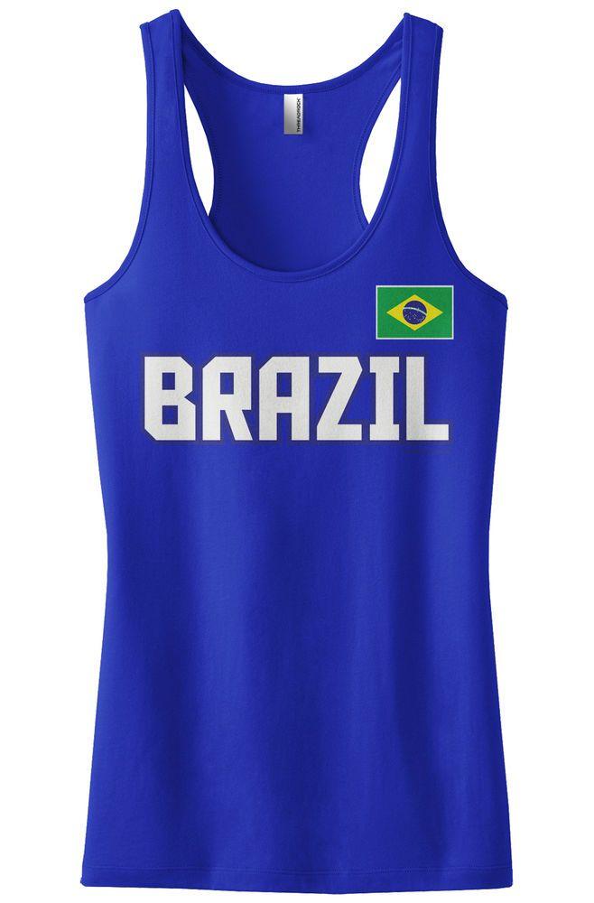 Threadrock Women's Brazil National Team Racerback Tank Top Brasil Brazilian #Threadrock #TankCami