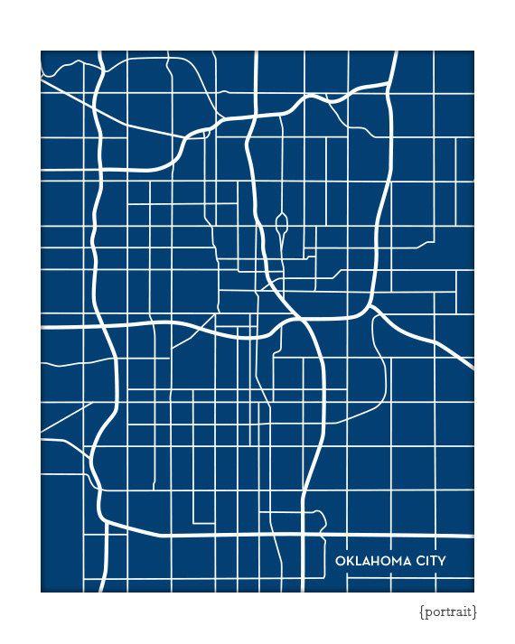 Oklahoma City Line Art Map / OKC Map Print Wall by jennasuemaps, $18.00