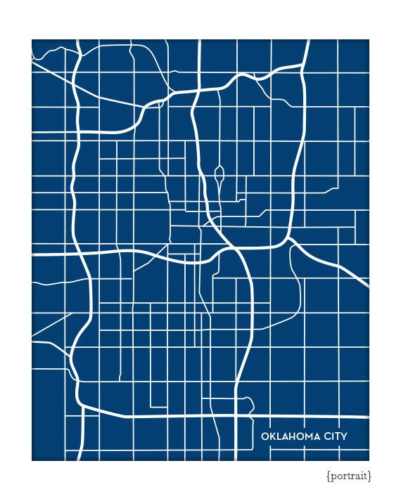 Oklahoma City Line Art Map / OKC Map Print Wall by jennasuemaps, $18.00