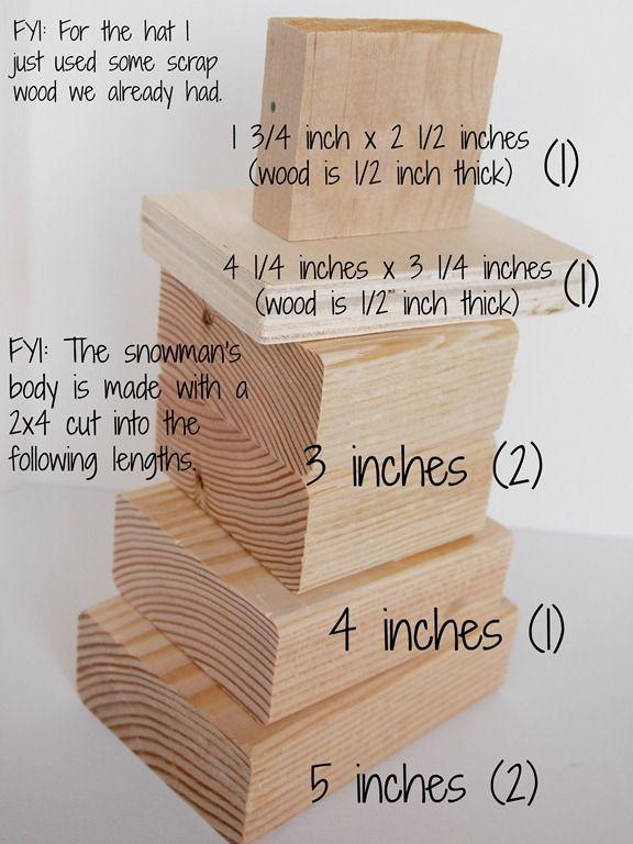 2x4 snowman measurements- how to make a wooden snowman