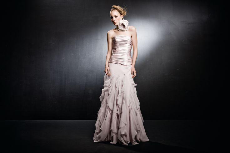 Satin corset with silk chiffon ruffled skirt