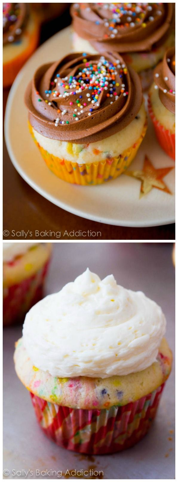 This is my very favorite funfetti cupcake recipe! Try them with my milk chocolate or my vanilla frosting.