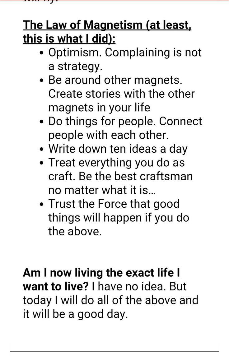 Law of Magnetism - From James Altucher