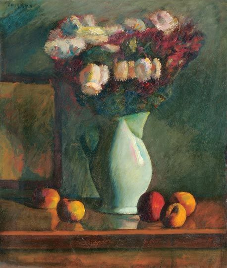 Czigány Dezső (1883-1938)  Virágcsendélet, 1915 körül  Olaj, vászon, 75x64 cm