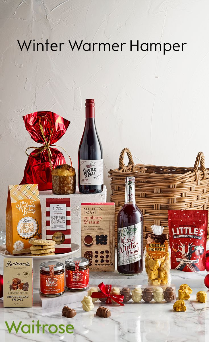 A delicious assortment of sweet and savoury snacks to be enjoyed by the fireside. This magical hamper includes mulled winter punch, cheese straws, chutney and cinder toffee. For more hamper inspiration, see the Waitrose Gifts website.