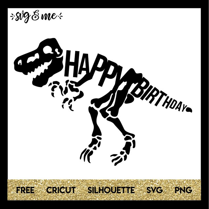 FREE SVG CUT FILE for Cricut, Silhouette and more - Happy Birthday Dinosaur Party SVG File or Free Printable Sign