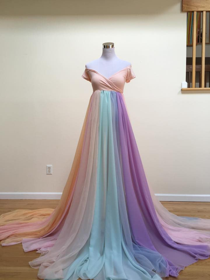 0ff1e11919c2f Rainbow Maternity Dress with long train | Baby pic | Maternity gowns ...
