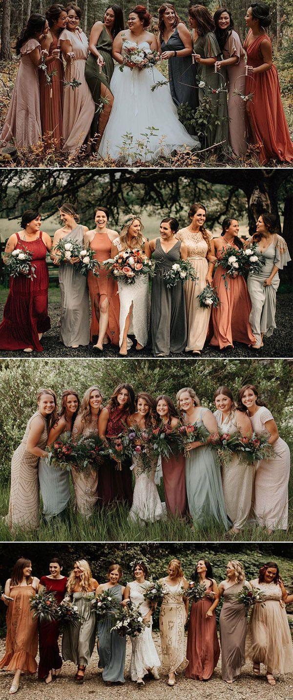 non matching bridesmaid dresses earth tones wedding color