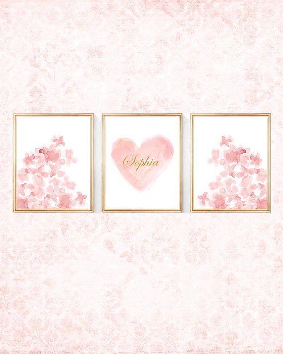 Personalized Blush Prints Blush Flowers  Set by OutsideInArtStudio