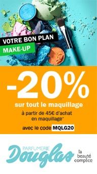 -20% sur tout le maquillage dès 45 euros d'achat chez Douglas Parfumerie.