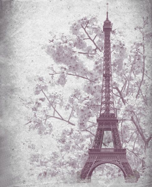 Retro poster of Eiffel tower from Paris, France