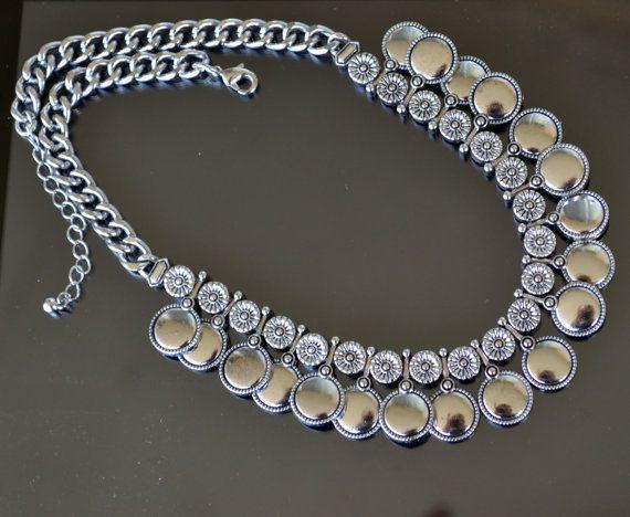 Collar de plata lleno de collar de plata moneda de por LKArtChic
