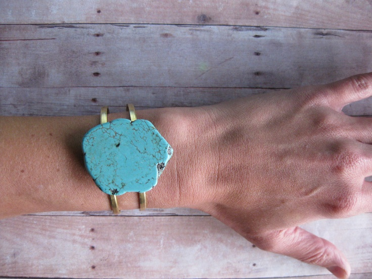 TURQUOISE SOLO – Turquoise Stone Cuff on raw brass adjustable double banded cuff Boho Urban Hippie – Nightmare Before Christmas – Seattle